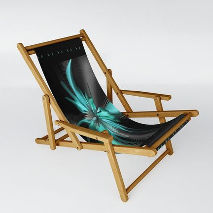 Sling Chair - fantasy-flower-turquoise