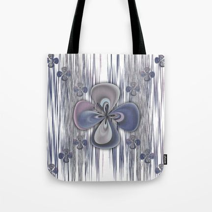 Tote Bag- clover-flower-in-blue